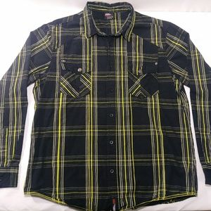 No Fear Black/Yellow Long Sleeve Button-Up Shirt